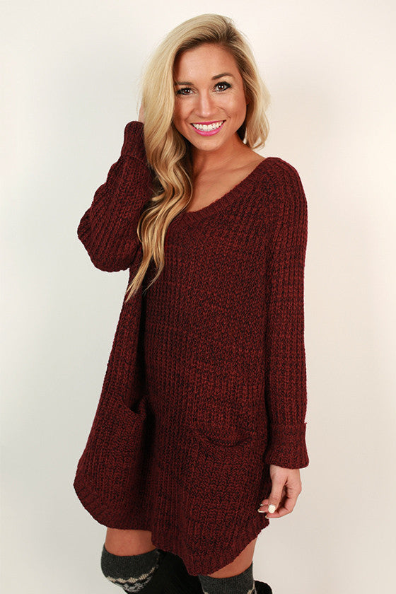 Chic Cuddles Tunic Sweater in Maroon