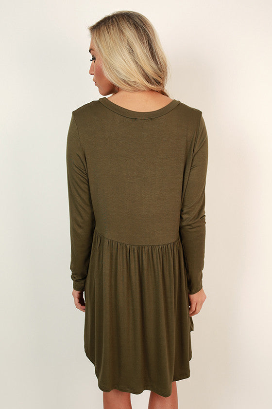 Not Your Babydoll Tunic in Army Green