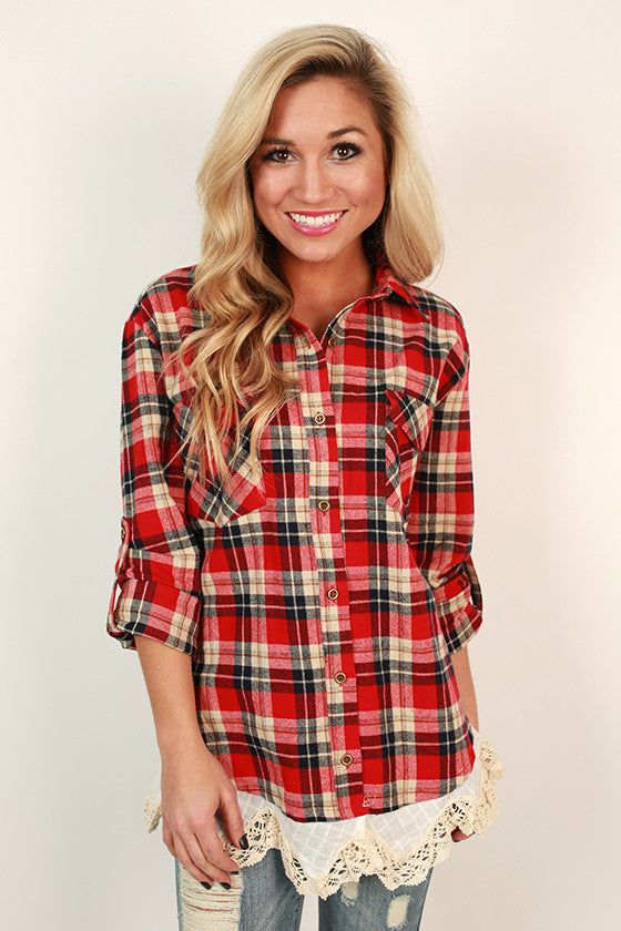 Checkered Babe Lace Trim Top