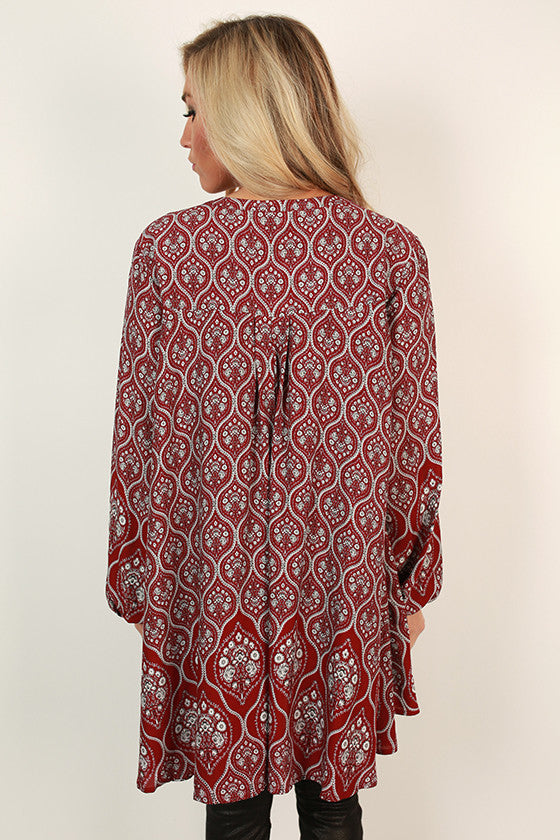 Sway With Me Print Tunic in Crimson