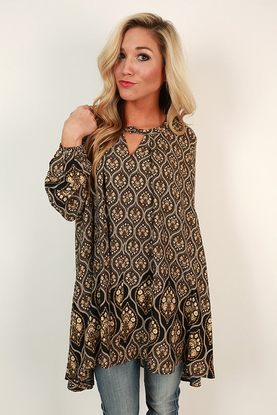 Sway With Me Print Tunic in Black