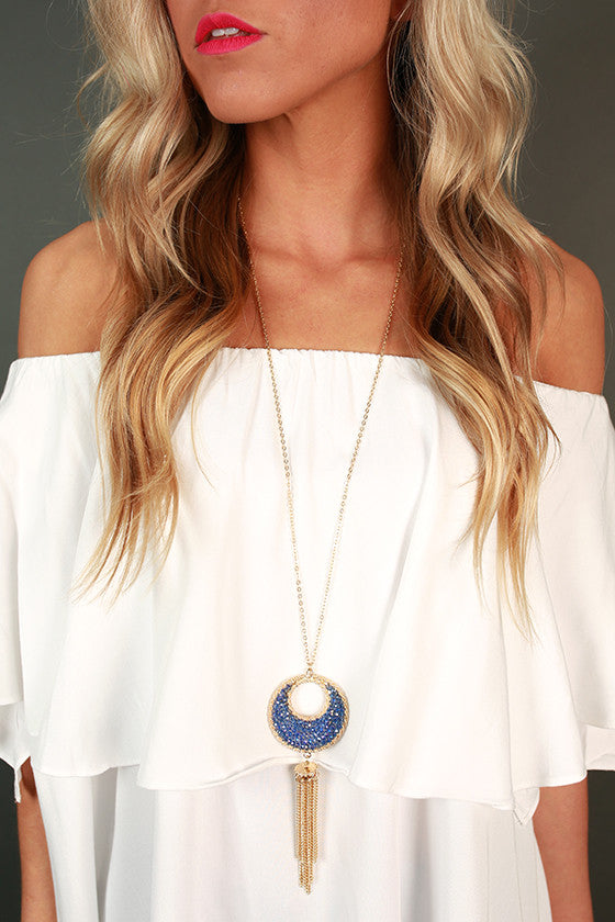 Flashing Lights Tassel Necklace in Sapphire