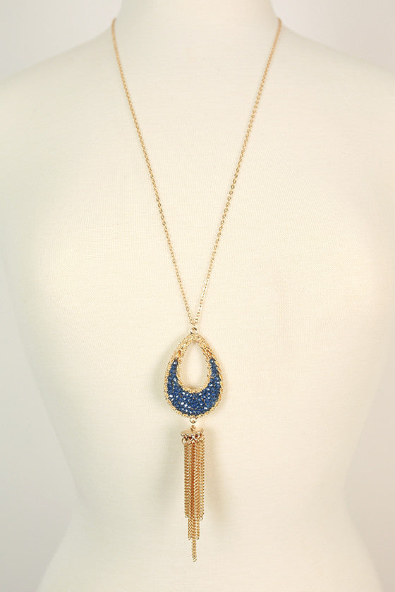 Sparkling Nights Tassel Necklace in Sapphire