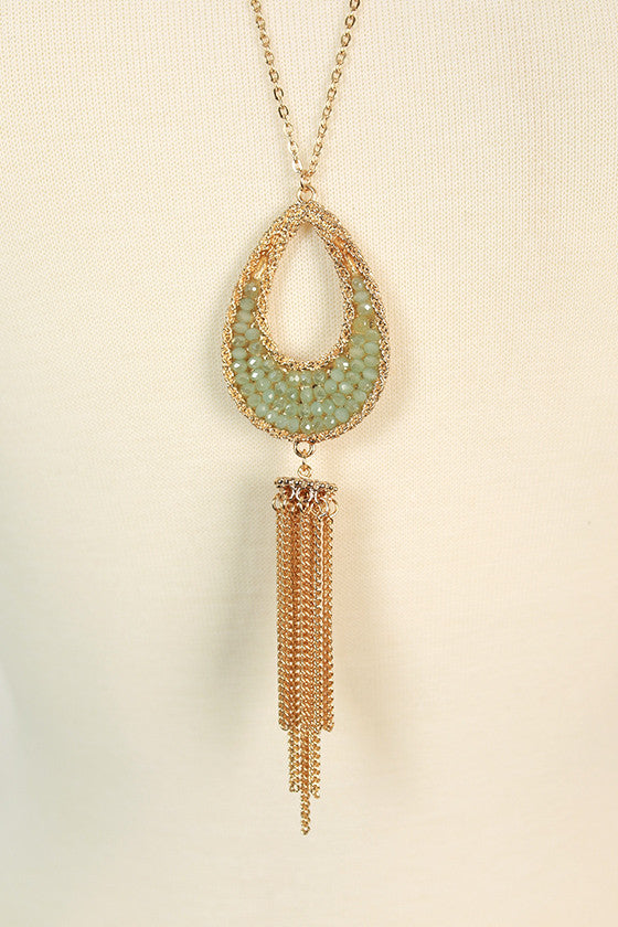 Sparkling Nights Tassel Necklace in Pear