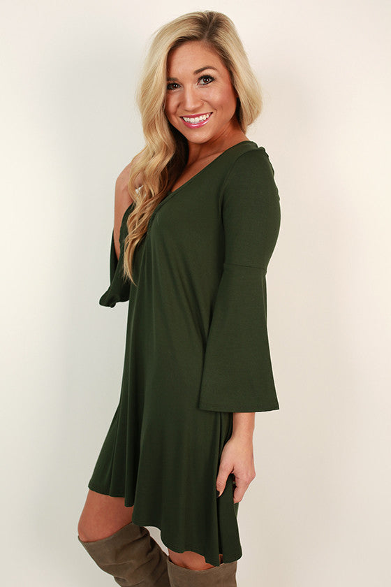 Smitten Kitten Shift Dress in Hunter Green