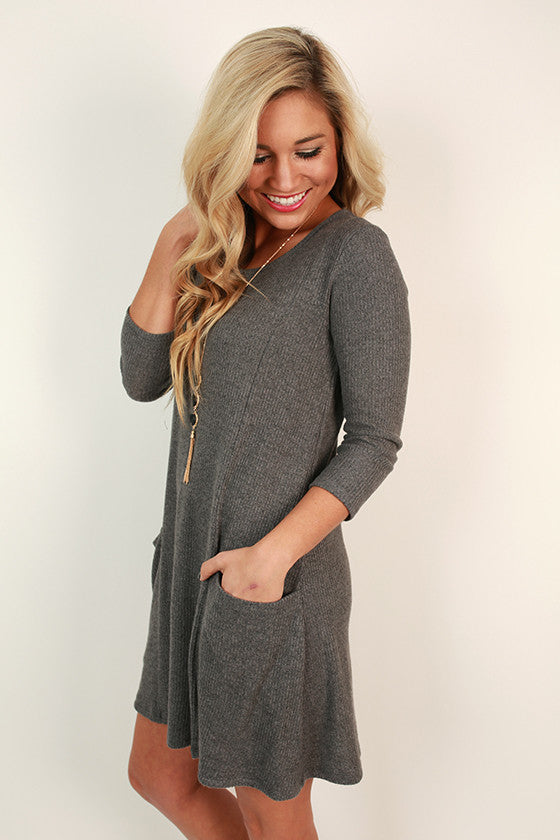 Porch Party Shift Dress in Dark Grey