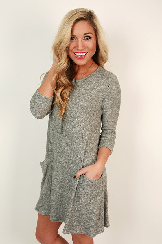 Porch Party Shift Dress in Grey
