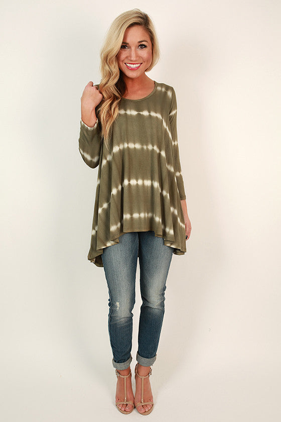 Tiramisu For Two Tie Dye Top in Army Green