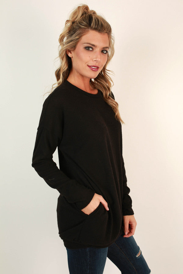 Pocket To Me Pretty Tunic in Black