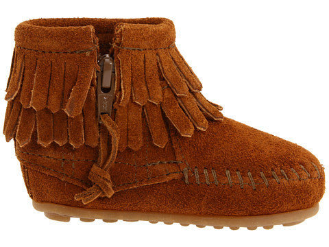 Double Fringe Side Zip Bootie (Infant's) Brown