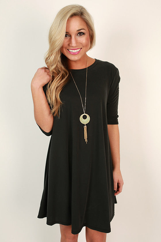 Girl's Best Friend Shift Dress in Smoky Black