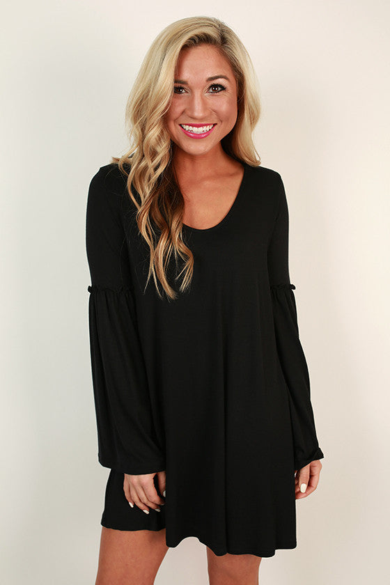 Star Gazing Bell Sleeve Dress in Black