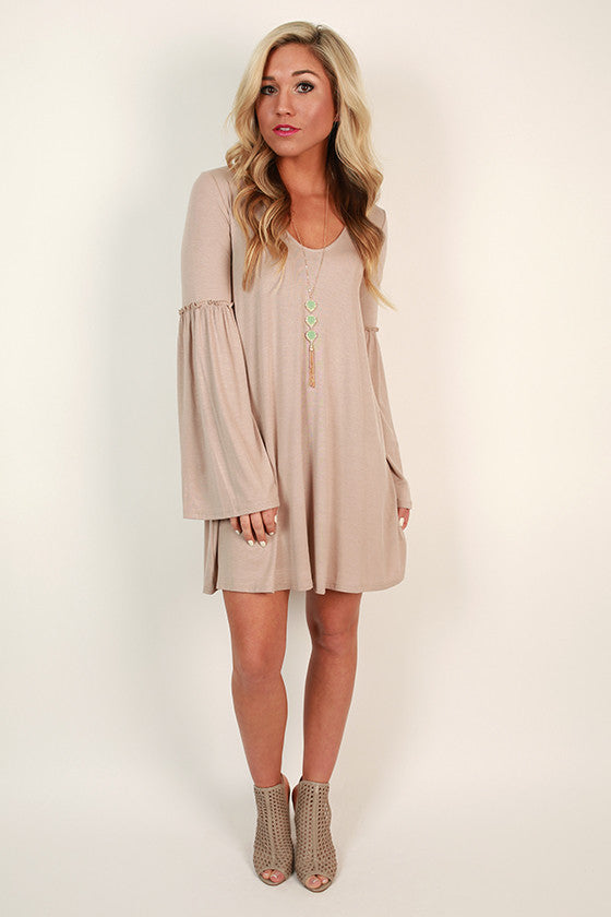 Star Gazing Bell Sleeve Dress in Oatmeal