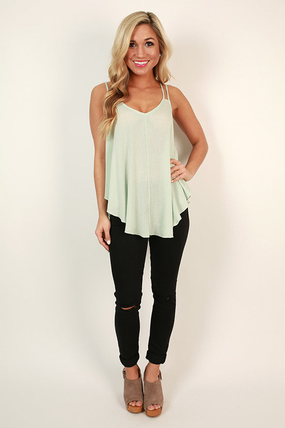 Ruffles at the Ritz Tank Top in Mint