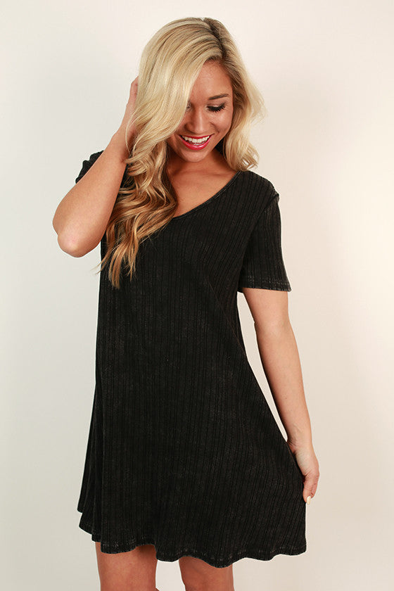 Matinee & Mimosas V-Neck Shift Dress in Black