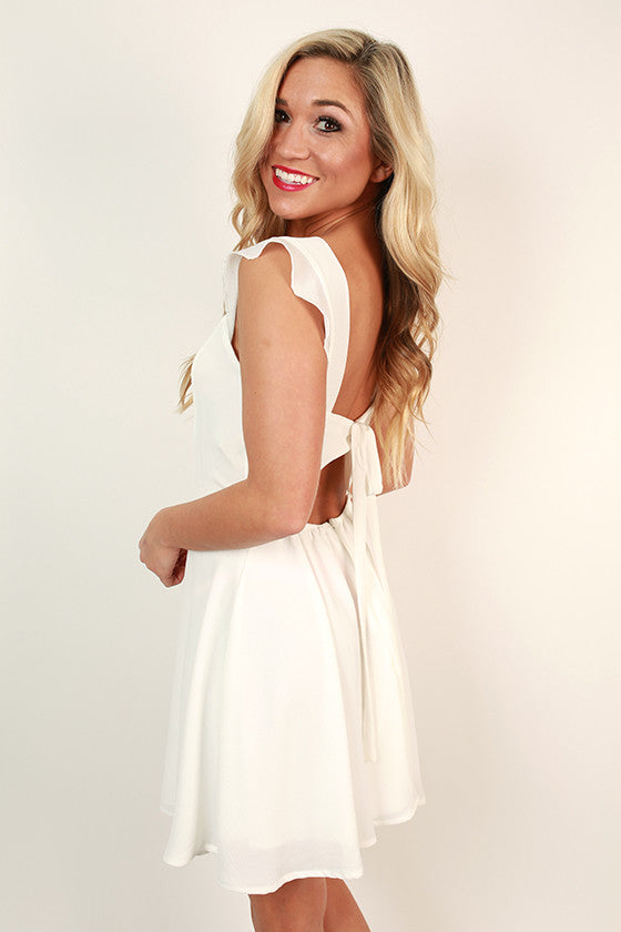 Southern Sweetheart Ruffle Dress in White