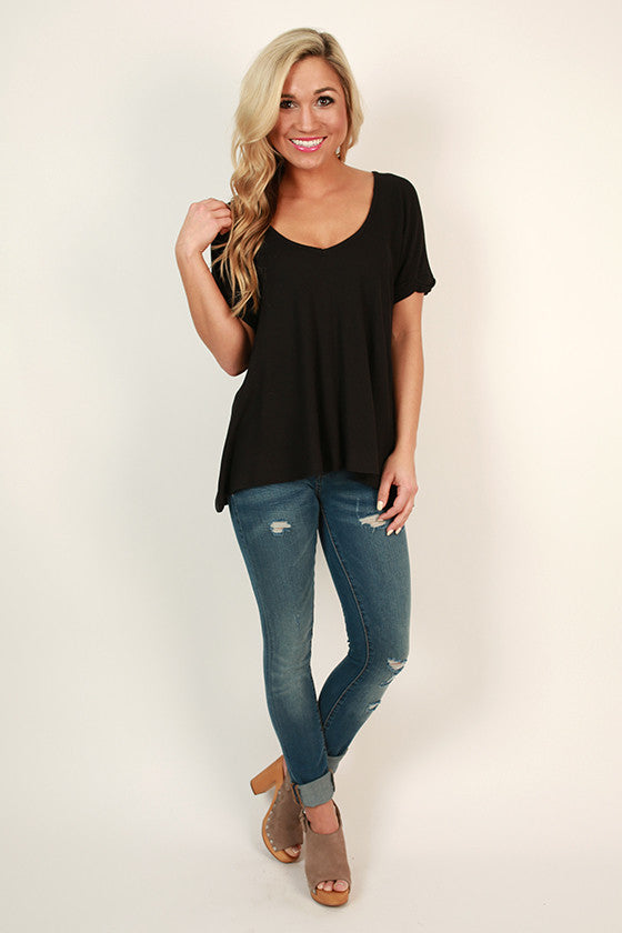 Back To The Basics V-Neck Tee in Black