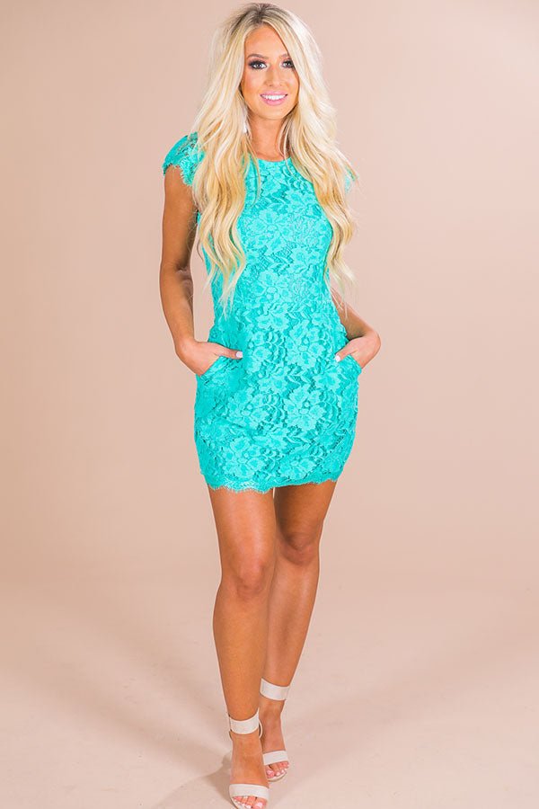 Queen's Lace Mini Dress in Ocean Wave