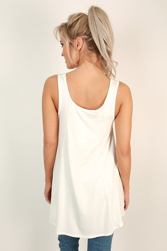 The Sass Shift Tank in White
