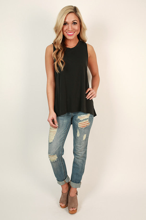 Basic Beauty Shift Tank in Smokey Black