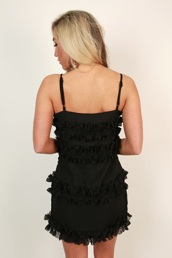 Soho Swooning Ruffle Mini Dress in Black