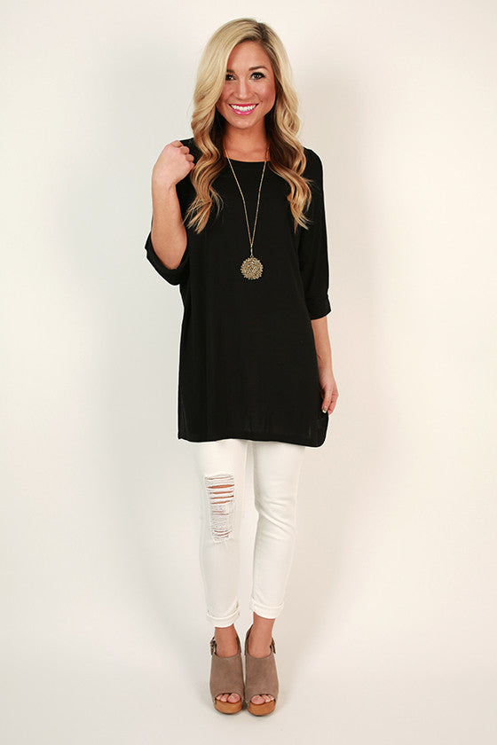 Brunching Babes Side Slit Tunic in Black