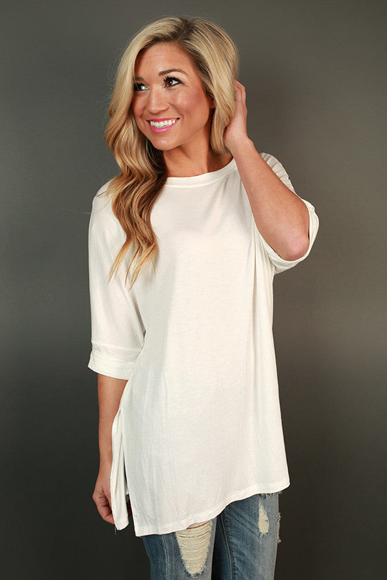 Brunching Babes Side Slit Tunic in Ivory