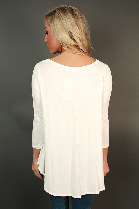 Dream Team V-Neck Shift Tee in Ivory
