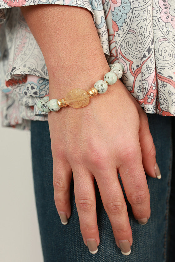 Charmed Life Semi Precious Stone Bracelet in Light Aqua