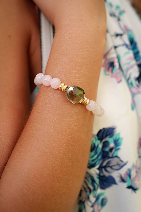 Charmed Life Semi Precious Stone Bracelet in Rose Quartz