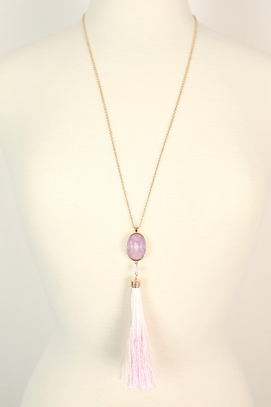 Pretty in Pink Crystal Tassel Necklace