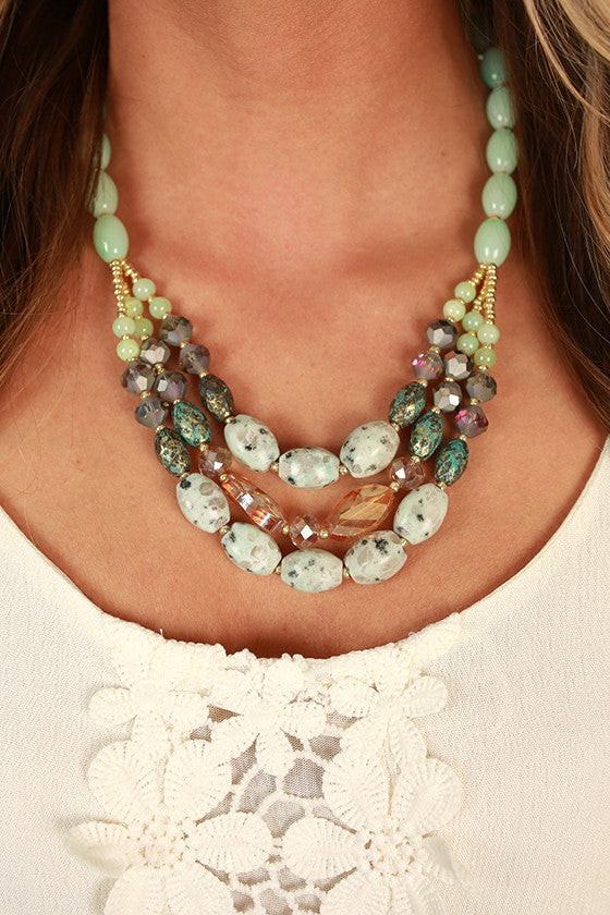 Fancy Days Semi Precious Stone Necklace in Mint