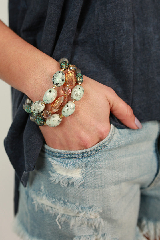 Sweet Dreams Precious Stone Bracelet in Light Aqua