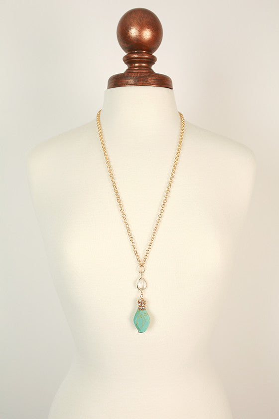 Sparkles in The City Crystal & Precious Stone Necklace in Aqua