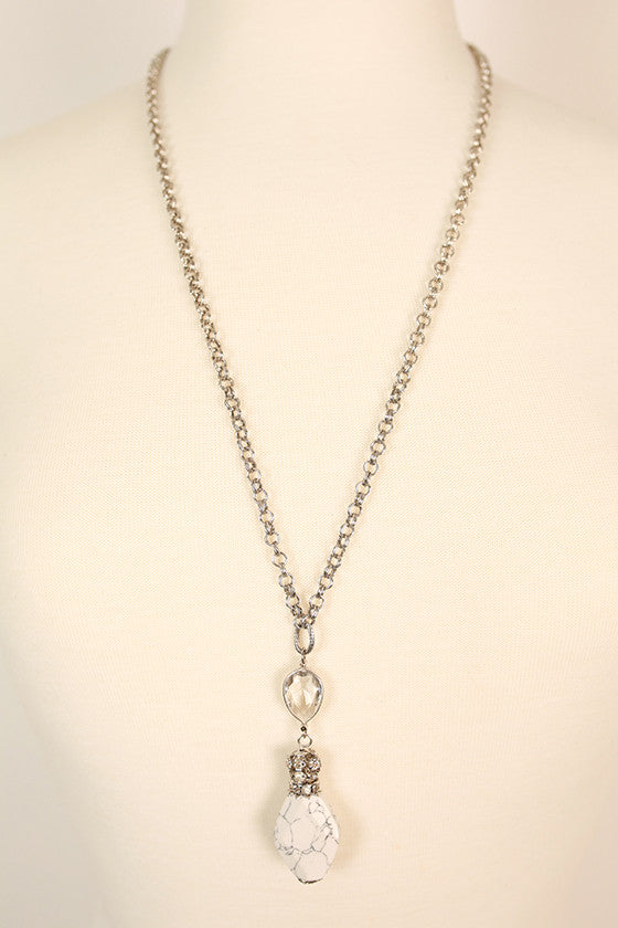 Sparkles in The City Crystal & Precious Stone Necklace in White