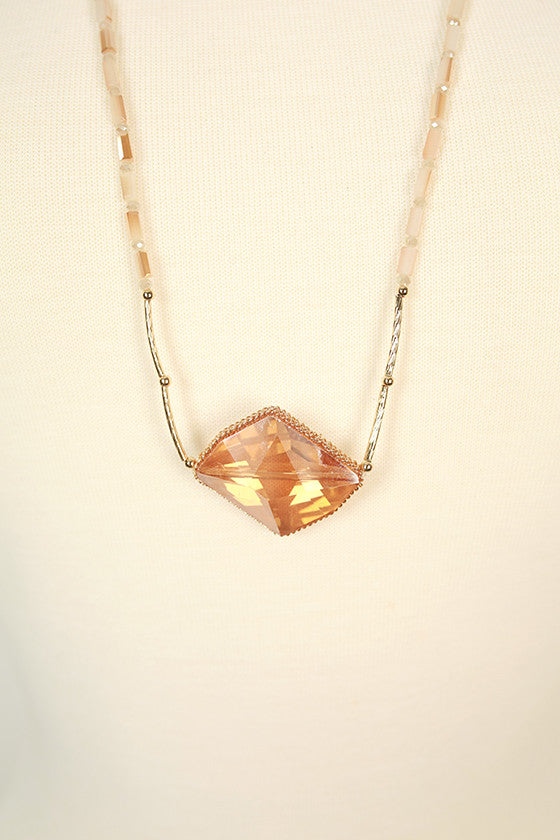 The Sweetheart Precious Stone Necklace in Tan