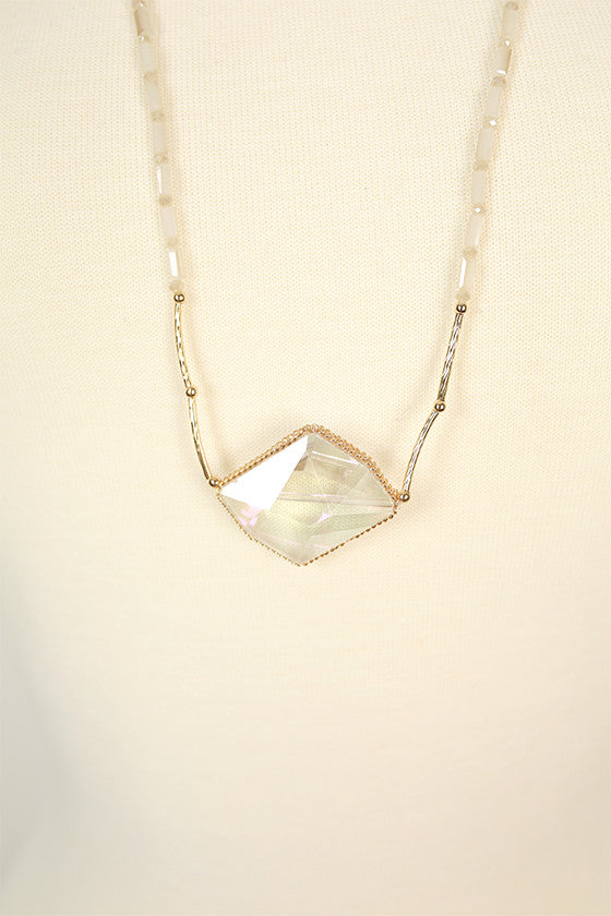 The Sweetheart Precious Stone Necklace in Clear