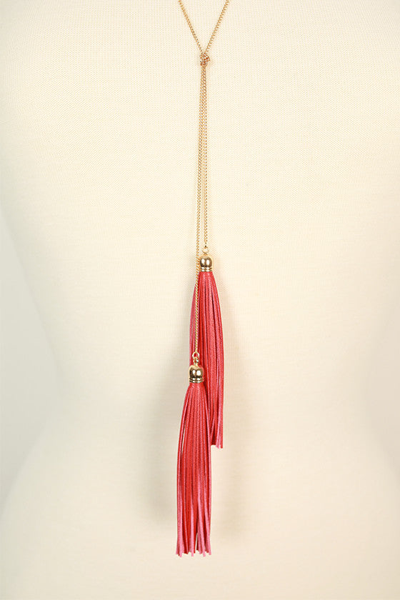 You Deserve It Double Leather Tassel Necklace in Red