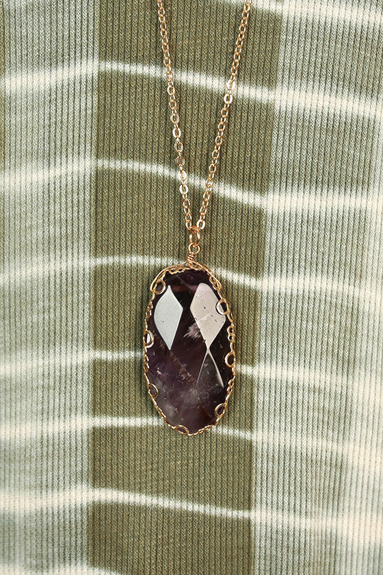 Peace of Mind Semi Precious Stone Necklace in Royal Plum