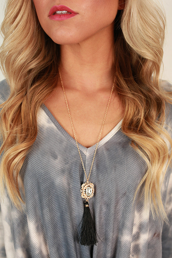 A Sure Thing Tassel Necklace in Black