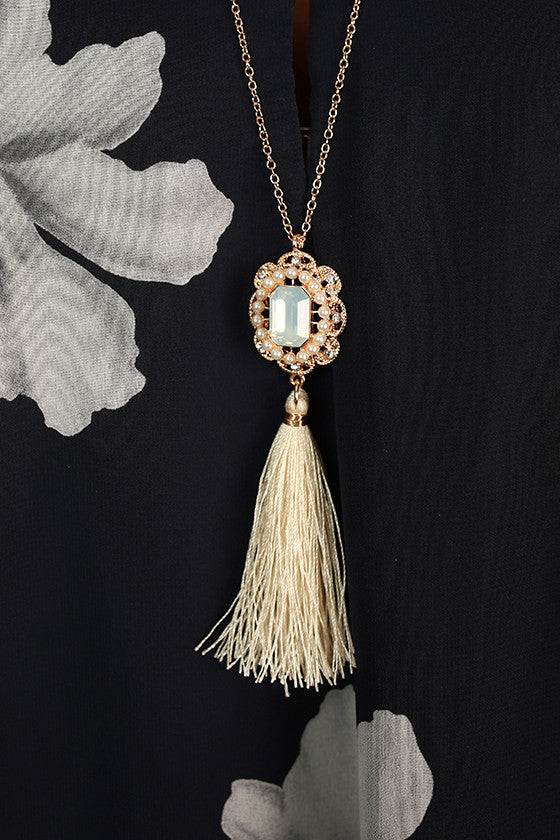 A Sure Thing Tassel Necklace in Ivory