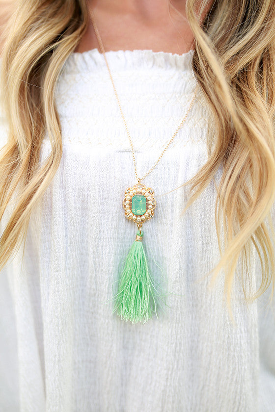 A Sure Thing Tassel Necklace in Mint