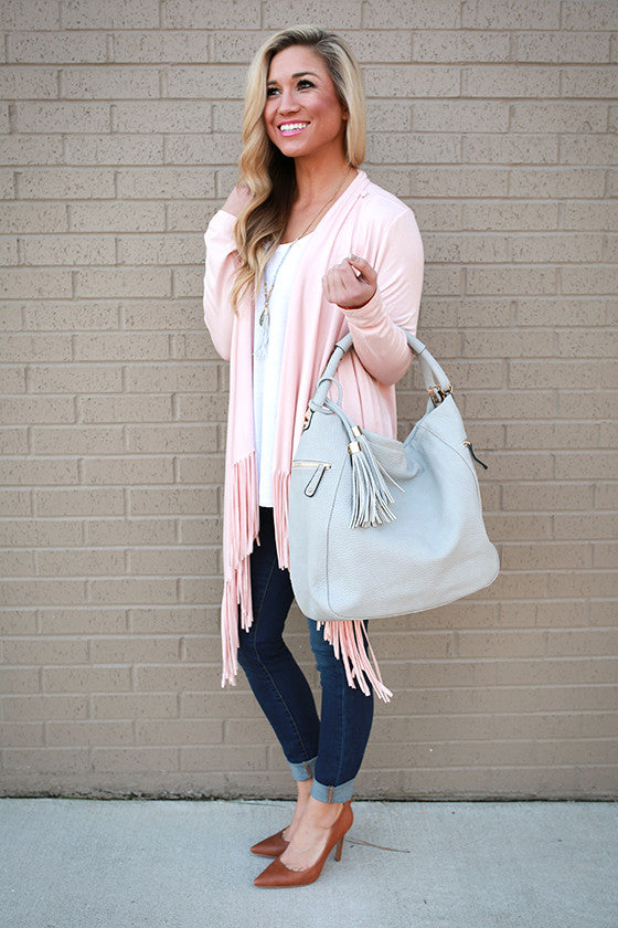 Broadway Babe Tassel Bag in Grey