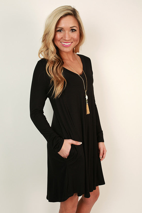 Travel Time V-Neck Shift Dress in Black