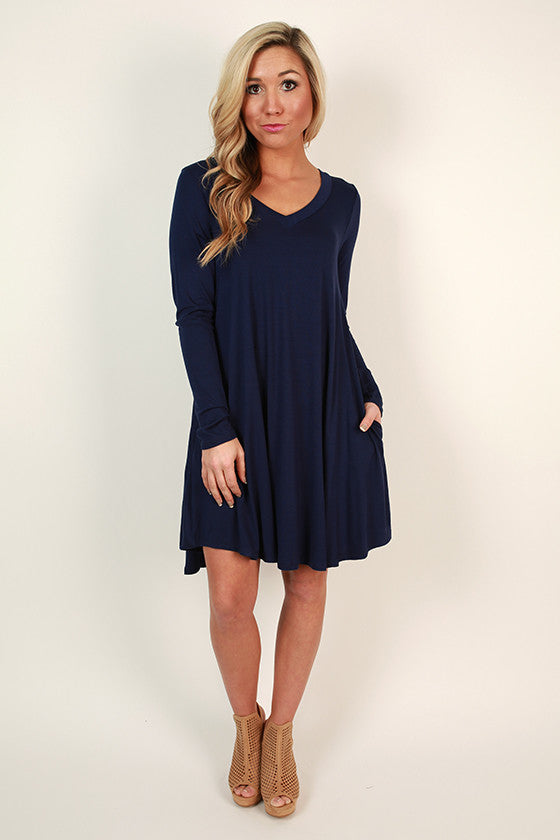 Travel Time V-Neck Shift Dress in Navy
