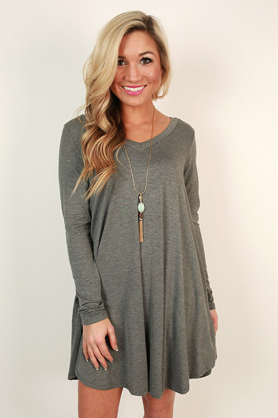 Travel Time V-Neck Shift Dress in Dark Grey