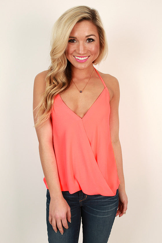 Hopeless Romantic Halter Top in Neon Coral