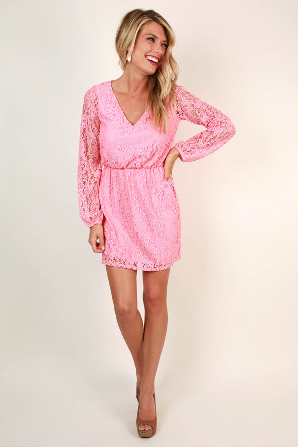 Lace & Sweetness Open Back Dress in Pink
