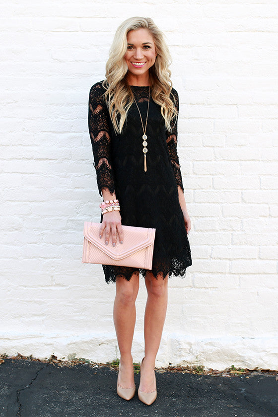 Paris Lace Shift Dress in Black
