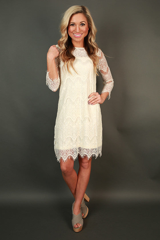 Paris Lace Shift Dress in Ivory